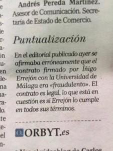 El diario El Mundo se retracta de las acusaciones contra Errejón. Pero no lo hace en portada sino en una pequeña nota que obviamente pasa desapercibida para el lector. Vergonzoso.